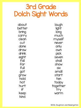 Dolch Sight Word List - 3rd grade
