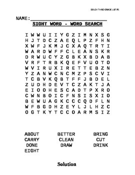 Dolch Sight Word List Third Grade Word Searches