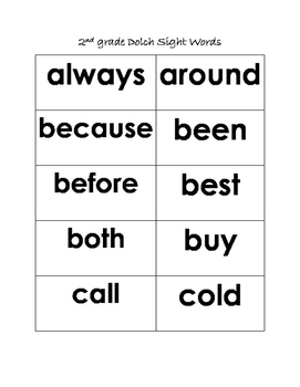 Dolch Sight Word List for 2nd Graders
