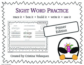 Sight Word Practice PRIMER Trace - Box - Write - Build - Use