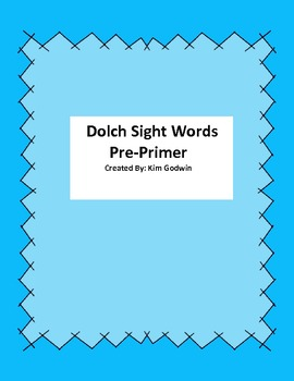 Sight Word Vocabulary Pre-Primer Flash Cards w/ FREE Stude