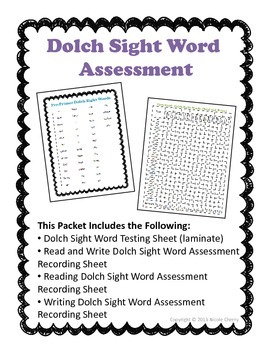 Dolch Sight Word Read and Write Assessment Packet