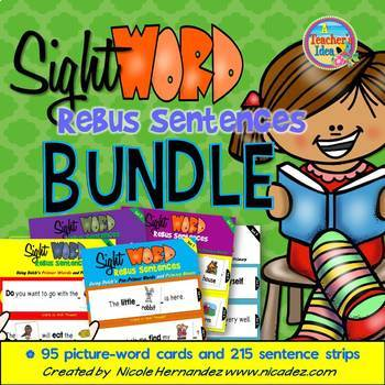 Dolch 220 Sight Word Rebus Sentences with Picture Cards (BUNDLED)