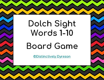 Dolch Sight Words 1-10 Board Game