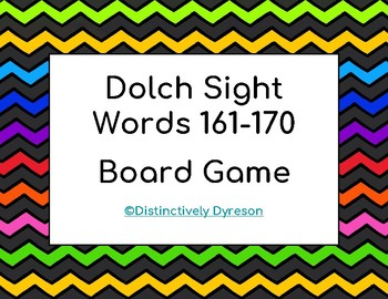 Dolch Sight Words 161-170 Board Game