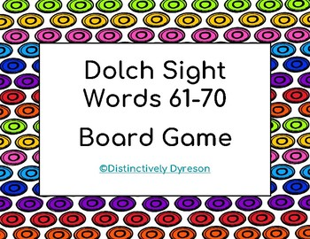 Dolch Sight Words 61-70 Board Game