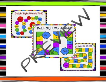 Dolch Sight Words 71-140 Board Games BUNDLE