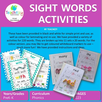 Dolch Sight Words Activities