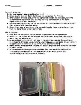 Dolch Sight Words Assessment and Instructions for Use