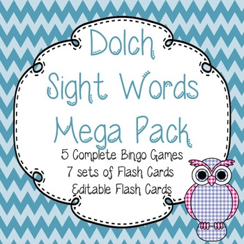Dolch Sight Words Mega Pack-Flash Cards (7 Packs)and Bingo