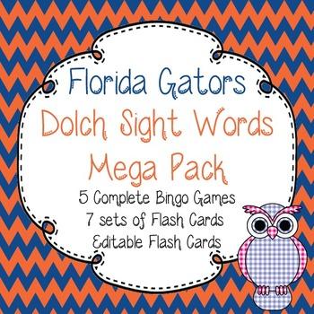 Dolch Sight Words Mega Pack-Flash Cards and Bingo-Florida Gators