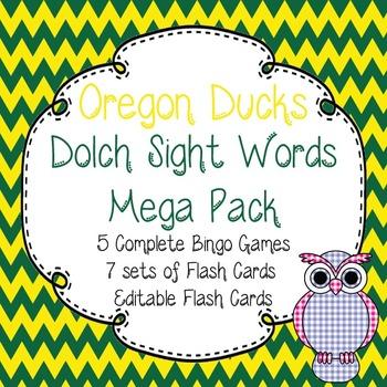 Dolch Sight Words Mega Pack-Flash Cards and Bingo-Oregon Ducks