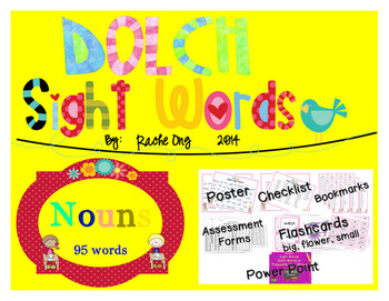 Dolch Sight Words NOUNS [Bookmarks, Flashcards, Powerpoint