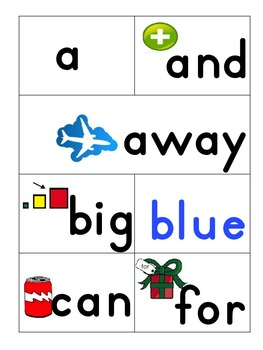 Dolch Sight Words Pre-Primer with Pictures