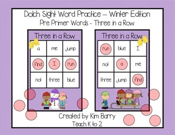 Dolch Sight Words Pre Primer - Three in a Row - Winter Edition