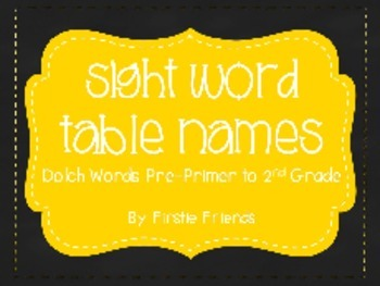 Dolch Sight Words Table Names (PP - 2nd) Chalkboard and Yellow