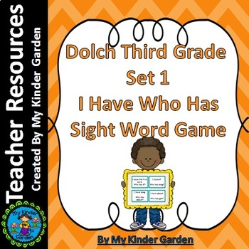 Dolch Third Grade Set 1 I Have Who Has Sight Word Game