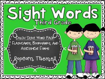 Dolch Third Sight Word Assessment Pack Popcorn Theme - CCS