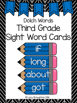 Dolch Word Wall Third Grade Sight Word Cards- Blue