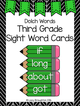 Dolch Third Grade Sight Word Cards- Green