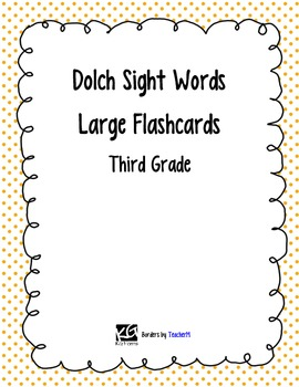 Dolch Third Grade Sight Word Large Flashcards