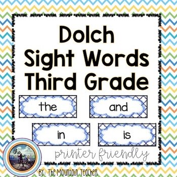 Dolch Third Grade Sight Word Rings/Word Wall Words/Flash Cards