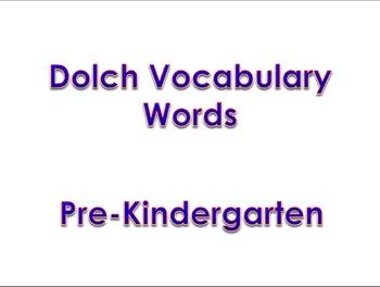 Dolch Vocabulary Sight Words PK - 2
