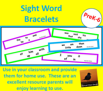 Dolch Word Bracelets - First 100 Words Collection