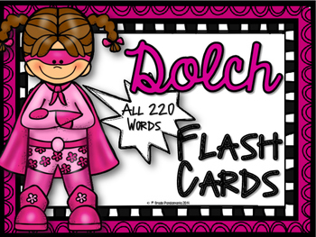 Dolch Sight Word Super Hero Flash Cards ~ All 220 Words