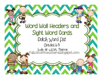 Dolch Word Wall Cards and Header Cards {Kids Theme} Editable