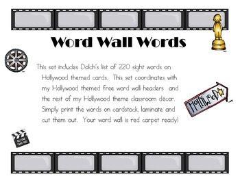 Dolch Word Wall Words Hollywood Theme