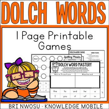 Dolch Words - 1 Page Printable Games