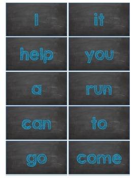 Dolch Words Flashcards:  Chalkboard - Blue Chalk