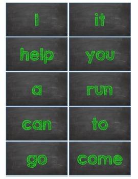 Dolch Words Flashcards:  Chalkboard - Green Chalk