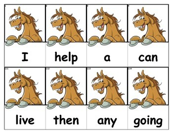Dolch Words Flashcards - Horse Peek Over