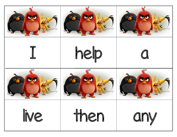Dolch Words Flashcards (Large) - Angry Bird