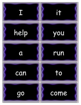 Dolch Words Flashcards: Neon Light - Purple