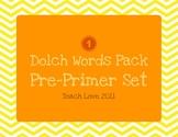 Dolch Words Pack: Pre-Primer Set