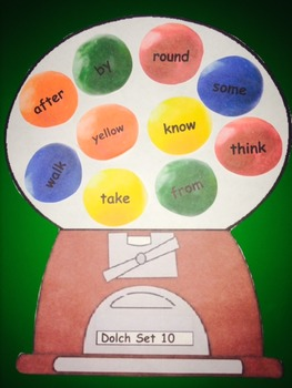 Dolch Words Activity - Gumball Machine