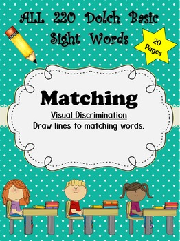 Dolch Words Worksheets: Matching - 3 Different Font Sets