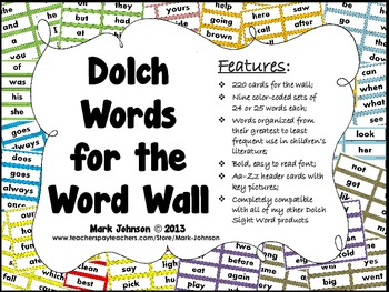 Dolch Words for the Word Wall