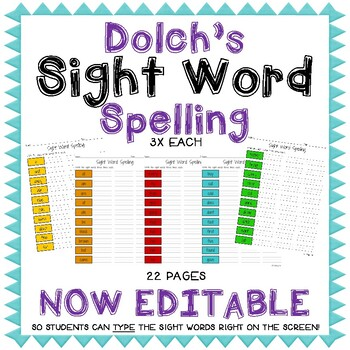Dolch's Sight Word Spelling