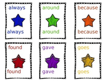 Dolch sight words game cards Grade 2