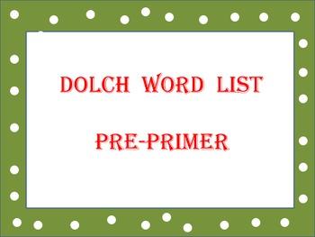 Dolch words Pre-Primer