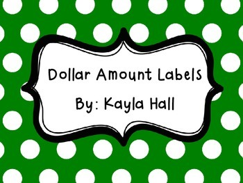 Dollar Bill Amount Labels