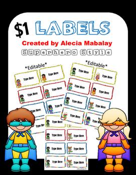 Dollar Deal:  Classroom Labels (Superhero Style)