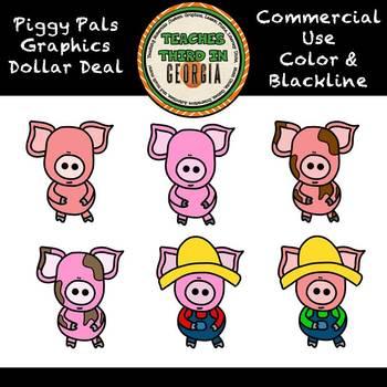 Dollar Deal! Piggy Pals Clipart Set-Color/Blackline