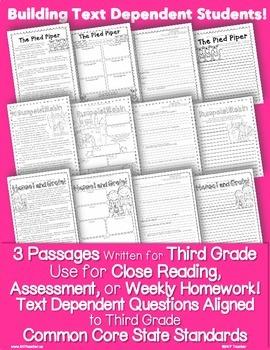 Literature 3rd Grade Passages: Close Reading + Common Core