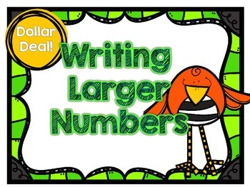 Dollar Deal-Writing Larger Numbers-12 Task Cards-With and