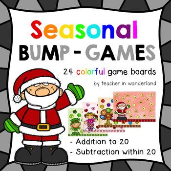 Seasonal bump games (addition and subtraction)